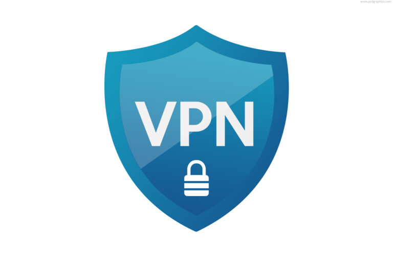 Blue VPN shield icon, download PSD template