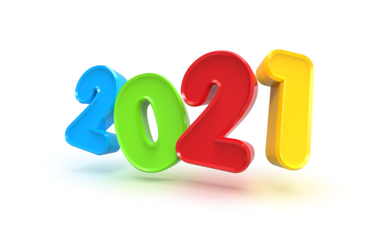 Happy New Year 2021, 3D numbers PSD template
