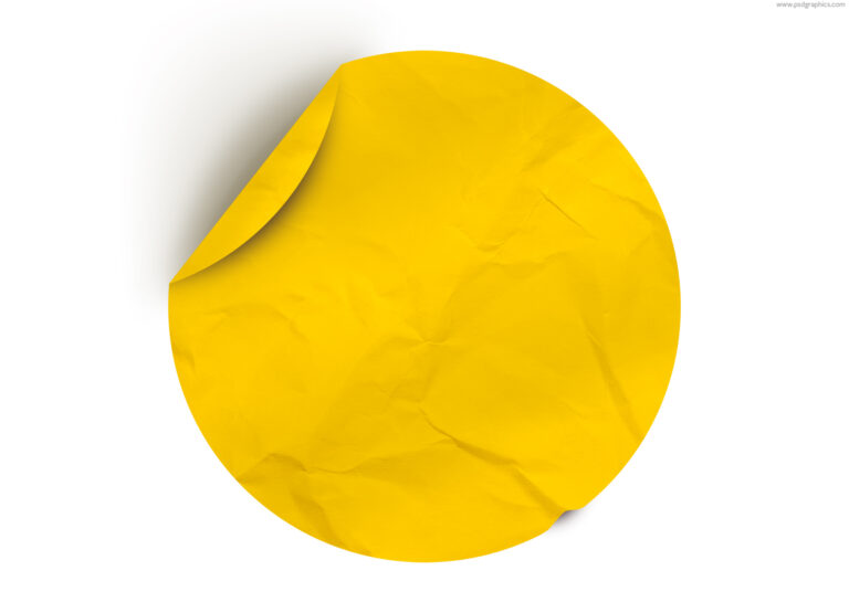 Round yellow paper sticker template PSD